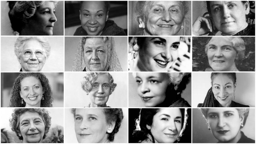 Collage of sixteen Bahá'í women
