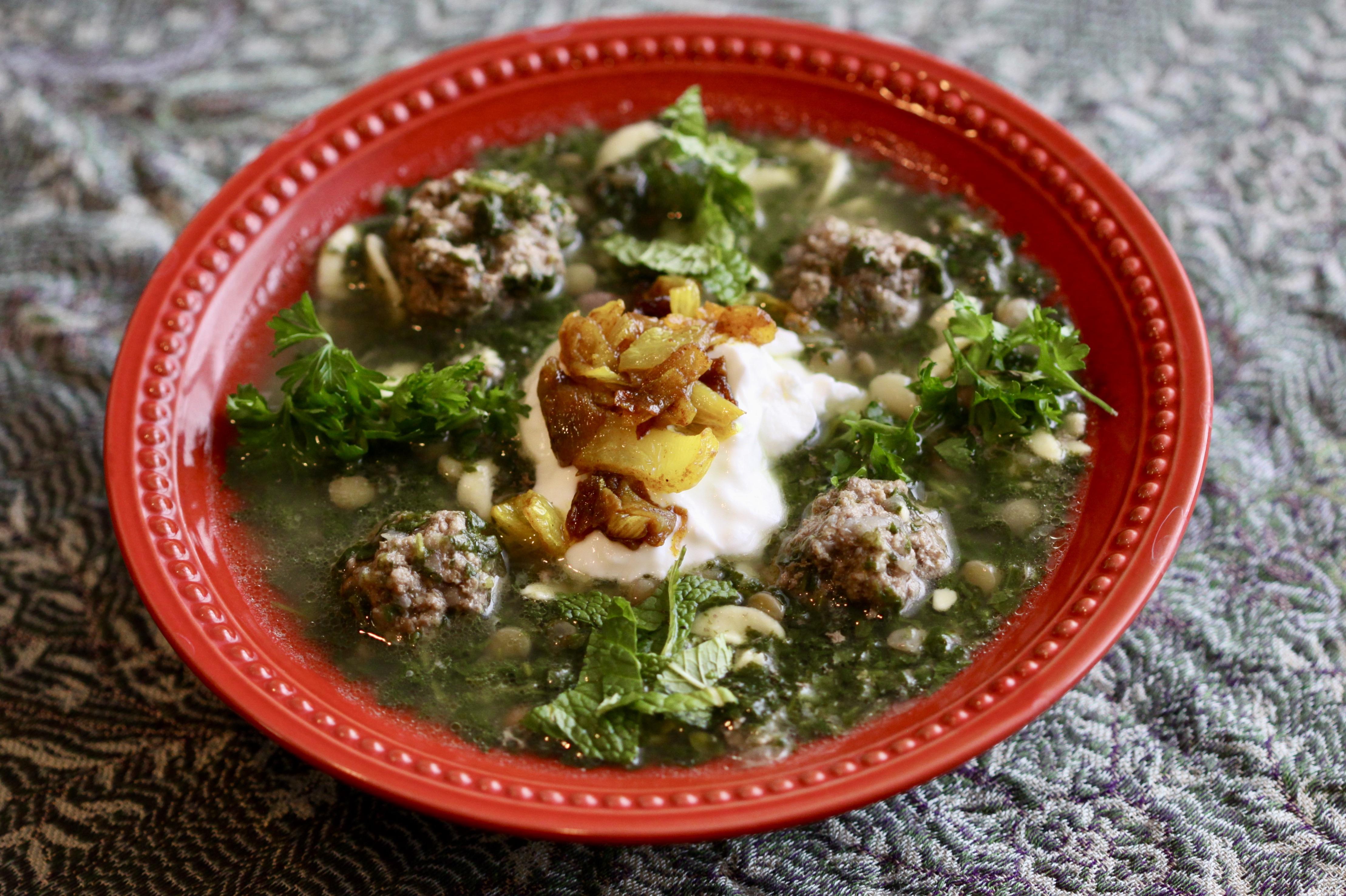 A bowl of ashe reshte (meatball soup)