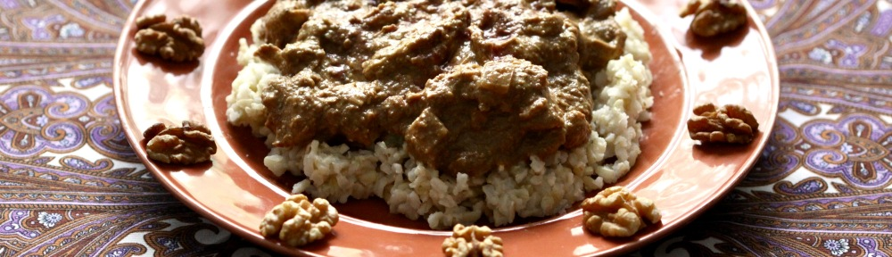 Walnut stew over rice