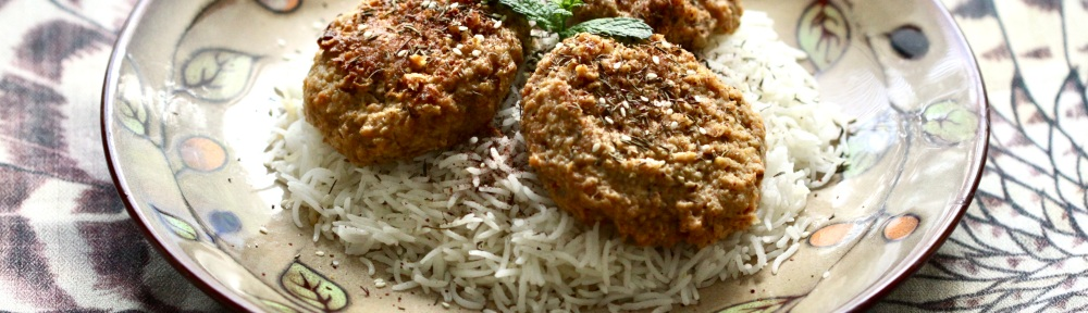 Kabob patties on top of rice
