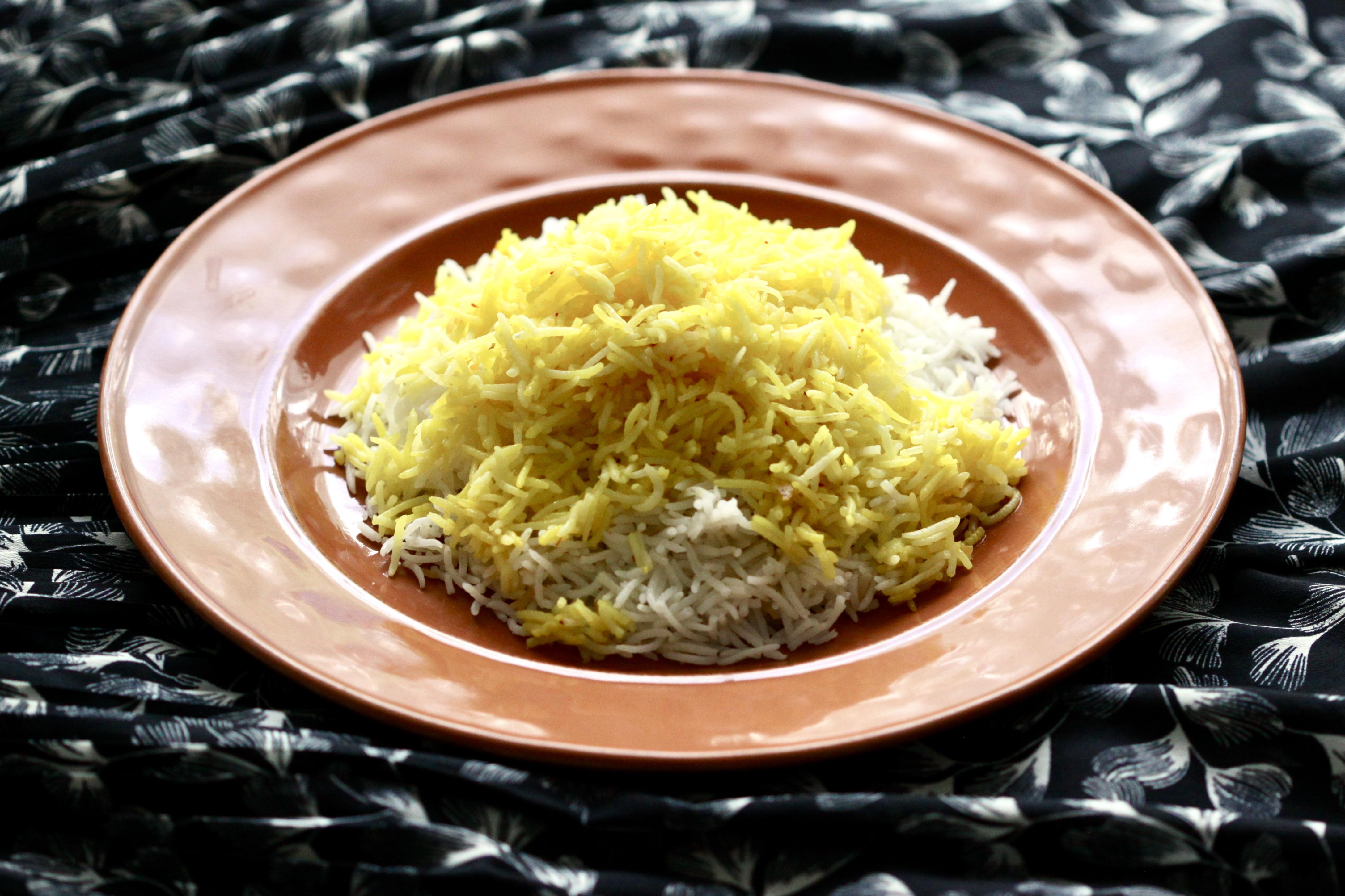 A plate of saffron rice